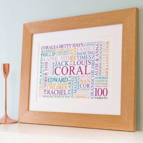 Personalised 100th Birthday Word Art
